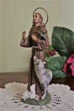 St. Francis of Assisi Statue 6 inch Handmade Gubbio Wolf Sheep Cross Import