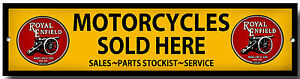 ROYAL ENFIELD MOTORCYCLES SOLD HERE ENAMELLED METAL SIGN,GARAGE SIGN.