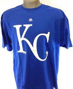 Mens Majestic Kansas City KC Royals MLB Large Logo Baseball Tee T-Shirt