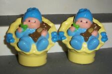 Fisher Price Little People LOT OF 2 BABY BOYS W/BEARS & PACIFIERS TWINS BLUE