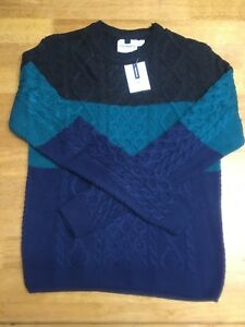 Top Man Jumper Size Medium RRP £32 Bargain To Clear 2/3rds Off Grey Green Blue M