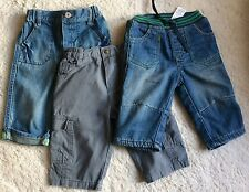 BABY BOY – 3 PAIRS OF JEANS & TROUSERS – 3-6 MONTHS – M&S/ BHS/ MOTHERCARE