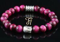 Tigerauge pink - silberfarbener Buddhakopf - Armband Bracelet Perlenarmband 8mm