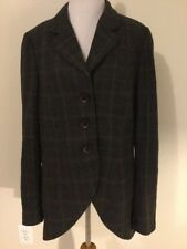 CAbi Womens Equestrian Riding Jacket Blazer #160 Gray Brown Plaid Wool Size 16