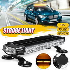 "15"" 30W LED Roof Strobe Light Bar Magnetic Emergency Warning Flash Amber Lamp"