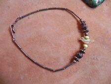 "Old Pawn Liquid Silver, Silver Flower Beads & MOP BIRD Fetish Bracelet 8 1/4"""