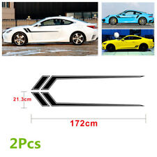 Pair 172x21.3cm Car Racing Stripe Graphic Vinyl Decal Stickers Set Self-adhesive