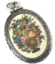 VINTAGE FLOWER URN CAMEO NECKLACE PENDANT DESIGNER SARAH COVENTRY JEWELRY