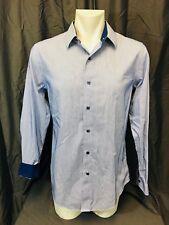 Denver Hayes Blue Striped Contrast Cuff Shirt. Mens. Medium.