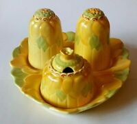 Art Deco Era Woods Pottery Sunflower Cruet Set on Tray - 1930's