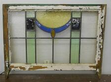 """EDWARDIAN ENGLISH LEADED STAINED GLASS  SASH WINDOW Abstract Design 28.75"""" x 19"""""""