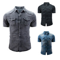 Mens Denim Wash Jeans Shirt Casual Short Sleeve Slim Fit Summer Tops Shirt M-3XL