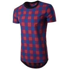 Long Extended, Tyga, T-Shirt,Side Zipper,Slim fit,Men,Women Blue,Red,Plaid,Large
