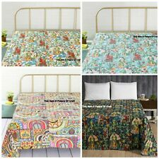 Ethnic Indian Handmade Kantha Cotton Quilt Home Decorative Twin Size Bedspread