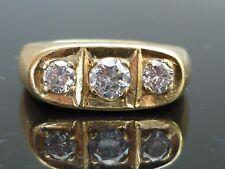 Stunning HEAVY 11.1g 18ct gold 0.95ct 3 Brilliant cut diamond set gents ring