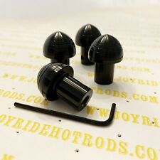 4 x 1940's Ford Style Polished Aluminum Dash Knobs - Anodized Black- So-Cal