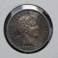 1892 10c BARBER DIME, HIGH-GRADE AU+ DETAIL LOT#N560