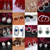 Fashion 925 Silver Sterling Hoop Drop Earrings Stud Dangle Jewelry Crystal Women