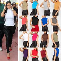 Ladies Womens Plain Turtle Polo High Neck Vest Sleeveless Bodycon T Shirt Top