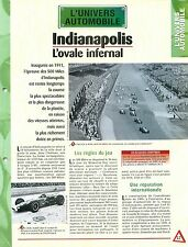 Circuits Indianapolis Motor Speedway 500 Mile Race USA Car Auto FICHE FRANCE