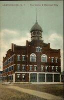 Lestershire NY Fire Station Municipal Bldg c1910 Postcard
