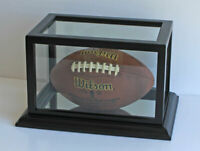 Football Display Case Stand Holder UV Protection. Wooden Frame