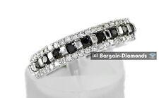 black white diamond .50 carat wedding anniversary 10K white gold ring band bride
