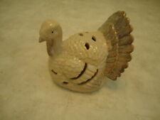 Large Ceramic Tan Turkey Tea Light Candle Holder Centerpiece 7� x 8� x 7�