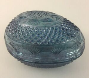 TIARA Exclusives Blue Cut Glass 2 pc Egg Trinket Candy Dish Easter Vintage
