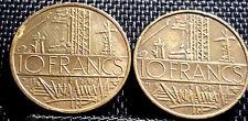 1976 France ( Francaise) 10 Francs coin 2pcs VF dia 26mm(+FREE 1 coin) #D2929