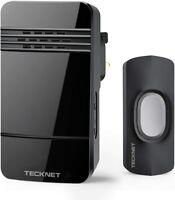 TECKNET Wireless Doorbell, IP44 Weatherproof Wall Plug-in Cordless Door Black
