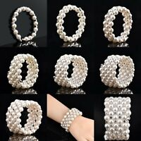 Lady Noble Pearl Crystal Rhinestone Bracelet Wedding Bridal Wristband Adjustable