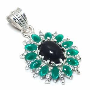 "Black Onyx, Emerald Gemstone Handmade 925 Sterling Silver Jewelry Pendant 1.50"""