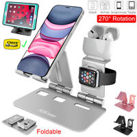 Foldable Tablet iPhone Apple Watch AirPods Charging Dock Station Stand Holder