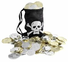 PIRATE COIN BAG MENS LADIES PIRATES FANCY DRESS ACCESSORY LOOT BAG + COINS
