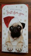 Pug dog in Santa hat money / gift / voucher wallet Merry Christmas present