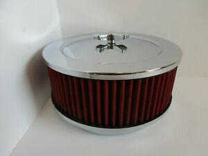 """CHROME MUSCLE CAR STYLE 6 3/8"""" AIR CLEANER """"RED"""" 5 1/8"""" CARB 4bbl#JKR2292CH/RD"""