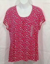 Lizwear by Liz Claiborne Womens Stretch Top Size XXL Pink White Short Sleeve NWT