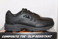 Mens Fila Memory Foam Workshift COMPOSITE TOE Slip Resistant Work Shoes Black