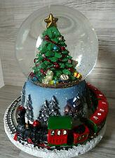 Spieluhr-Schneekugel & Weihnachtszug-Spieldose-Musik--Winterdorf mit Zug
