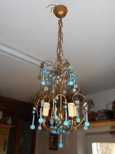 JOLI LUSTRE A PAMPILLES EN OPALINE BLEU.Luster,chandelier,gouttes