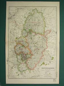 1920 Condado Map Of Nottinghamshire Rushcliffe Newark Mansfield Ferrocarriles