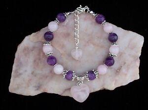 Rose Quartz Heart, Amethyst & Rose Quartz Gemstone Bead Bracelet. Handmade
