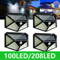 4Pack 208 LED PIR Motion Sensor Solar Power Light Outdoor Garden Waterproof Lamp