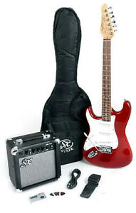 SX RST 3/4 CAR Left Handed Electric Guitar Package 3/4 Size w/Amp, Bag