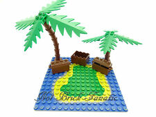 Lego 2 x Treasure Chests & Crate - Pirate - Palm Tree Bush/ Base sold separately