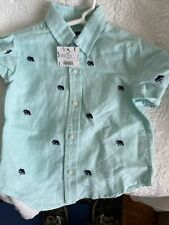 janie and jack boys 2t Green w Embroidered Blue Elephants