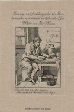 BERLER: Neujahrsgraphik P. F. für Walter von Zur Westen, Brotkartenjahr 1916