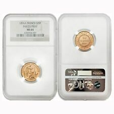 France 1896A Angel Writing Fases Privy 20 Francs Gold NGC MS64