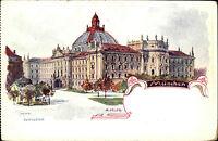 München Munich Bavaria AK ~1900 Justizpalast Gericht Gemälde R. Muth Kunst-AK